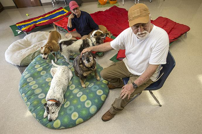 Mike Toups and his wife Tammy are living with their five dogs inside the scout ministry building at Wesley United Methodist Church in Beaumont, Texas. Toups is the building supervisor at Wesley UMC. They were flooded out by Hurricane Harvey. Photo by Kathleen Barry, UMNS.