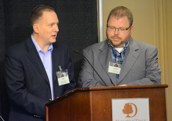 The Revs. Jeff Rainwater (left) and Jeremy Scott present a report on Yellowstone Conference's financial situation June 9 during the 2017 Annual Conference Session in Billings, Montana.