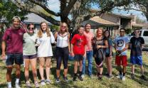 Youth from First United Methodist Church in Corpus Christi, Texas, pose for a group photo during clean-ups conducted in both Corpus Christi and Portland after Hurricane Harvey. They also have plans to work in a local food bank and travel to harder-hit areas over the weekend. Photo courtesy of Lauren Gray.