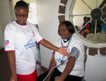 The Rev. Portia Kanoyangwa was the first to receive treatment during a medical outreach program conducted by The United Methodist Church in the Chitungwiza and Marondera rural districts of Zimbabwe. A total of 355 patients with various ailments benefited from the free program. Photo by Kudzai Chingwe, UMNS.