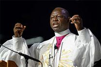 Bishop John Yambasu gives the sermon during morning worship at the 2016 General Conference. File photo by Paul Jeffrey, UMNS.