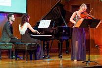 "Pianist Anna Petrova (second from left) and Molly Carr (right), perform during a concert in New York to mark the 70th anniversary of the Universal Declaration of Human Rights and highlight their ""Novel Voices"" project. Photo by Ramon Leonardo Cabrera/GFDD."