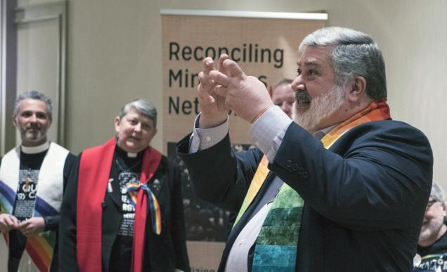 The Rev. David Meredith, pastor of Clifton United Methodist Church, Cincinnati, Ohio, speaks to supporters after the North Central Jurisdiction Committee on Appeals hearing on the West Ohio Conference appeal of a decision by the West Ohio Committee on Investigation concerning charges against him.