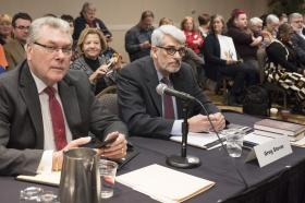 Rodger Walk, left, and the Rev. Greg Stover, appellant for the West Ohio Conference, argued that the West Ohio Committee on Investigation ignored a 2017 Judicial Council ruling when it dismissed two of three charges against the Rev. David Meredith. Photo by Kathy L. Gilbert