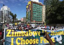 The Zimbabwe Council of Churches organized a march to foster peaceful elections. Photo by Tapiwa Dzuda, UMNS.