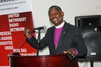 Bishop Gaspar João Domingos speaks during the United Methodist Radio Network in Luanda, Angola, April 24-26, 2018. Twenty-four participants from Burundi, Côte d'Ivoire, Liberia, Kenya, Uganda, Democratic Republic of Congo, Zambia, Mozambique, Nigeria, Angola, Zimbabwe and the Philippines attended the meeting. Photo by Taurai Emmanuel Maforo, UMNS.