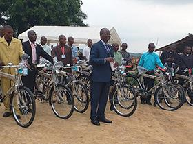 Bishop Gabriel Yemba Unda (center) presides over a service of blessing for new bicycles to be used for evangelism in remote areas of the East Congo Episcopal Area. Photo by Judith Osongo Yanga, UMNS.