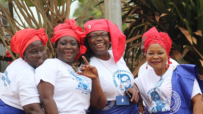 Muriel V. Nelson, second from right, is the new president of United Methodist Women in Liberia. She was inducted into office at the group's 71st annual session Jan. 26-28, 2018, in Tappita, Liberia. Photo by E Julu Swen.