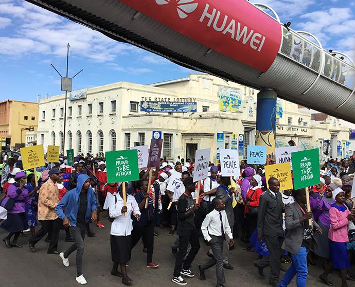 United Methodists join members of other denominations in a march for peace, unity and prayer in Harare, Zimbabwe, before upcoming elections in July. Photo by Tapiwa Dzuda, UMNS.