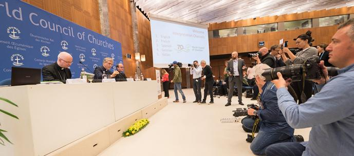 """Details of the June 21 visit to the World Council of Churches in Geneva by Pope Francis — a visit described by the WCC as """"a gift to churches"""" — were announced during a May 15 press conference. Photo by Albin Hillert/WCC"""