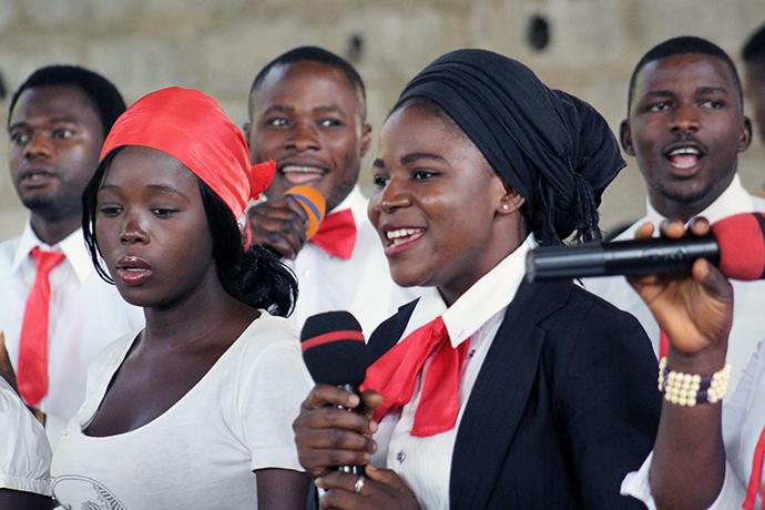 Rose Audu, a member of the Soul Winning Band, sings during service at Abuja Area 1 United Methodist Church in Abuja, Nigeria. Photo by E Julu Swen, UMNS.