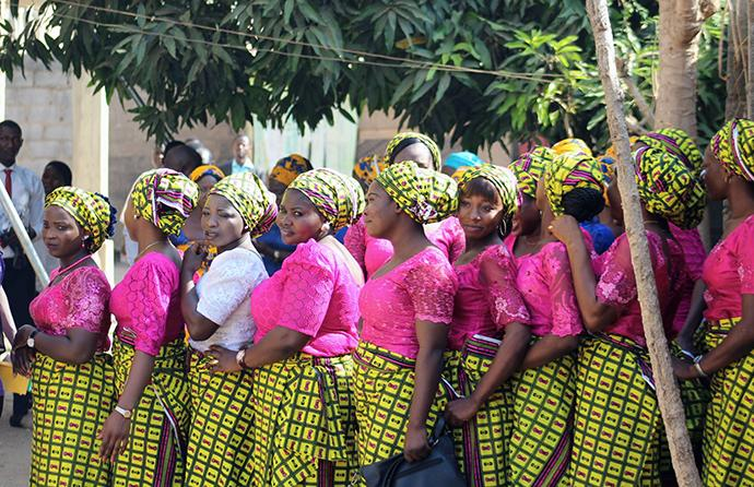 Members of the Women Fellowship Choir gather before Sunday service on March 4, 2018, at Abuja Area 1 United Methodist Church in Abuja, Nigeria. The Rev. Ali Ibrahim said the church holds two services every Sunday with more than 1,000 people at each service. Photo by E Julu Swen, UMNS.