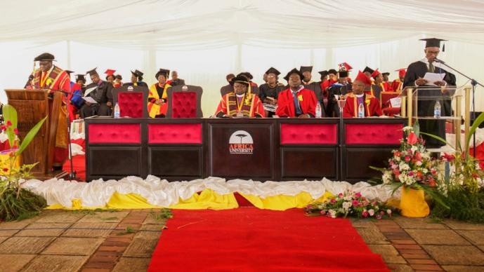 Dignitaries gather for the 24th graduation ceremony of United Methodist-related Africa University in Mutare, Zimbabwe. Photo by the Africa University Department of Information and Public Affairs.