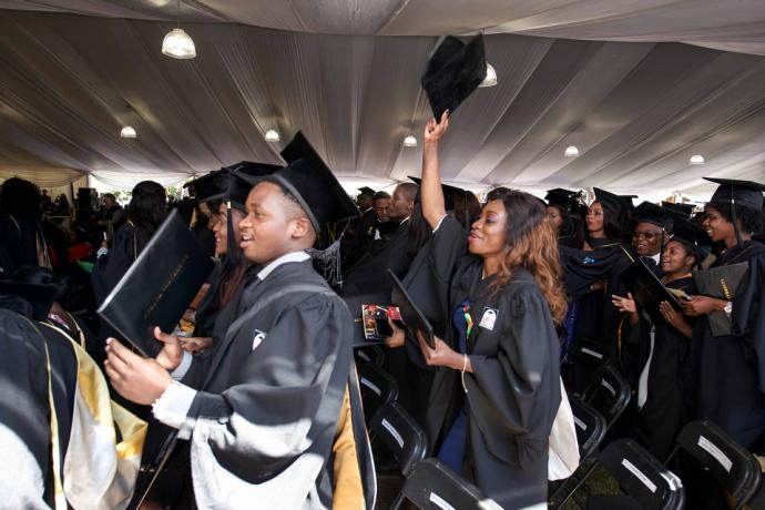 Africa University students cheer following their graduation. There were 616 students in this year's class. Photo by the Africa University Department of Information and Public Affairs.