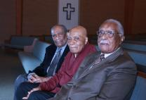 Drs. Robert Prince (left), Larry Lundy (center) and Claude Williams share a pew at Hamilton Park United Methodist Church in Dallas, where they are part of a weekly Bible study for seniors. All three were groundbreaking black doctors in Dallas — Prince in obstetrics, Lundy in podiatry and Williams in orthodontics. Photo by Wil Murphy, for North Texas Conference.