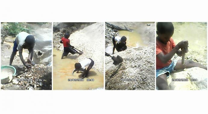 A composite of photos shows children in the Punia Territory of the Democratic Republic of Congo working in the local mining industry. The church is helping children who are being forced to work at a young age, many of whom are orphans. Photos courtesy of the Rev. Bundibani Mikembe, Punia District superintendent.
