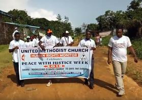 United Methodists living in Liberia have been challenged to plant over 250,000 trees as part of a campaign to combat the effects of climate change. The call to action was made by the head of the United Methodist Church Human Rights Office during a May 26 observance of Peace with Justice Week in Buchanan City, Grand Bassa County. Video image courtesy of United Methodist Communications.