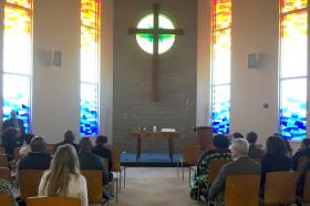 A view of the chapel at the Iowa Conference Office, where members of the Commission on General Conference prayed and worshipped during their meeting Photo by Heather Hahn, UMNS.