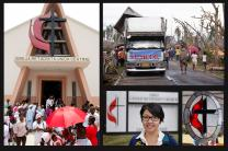 (Left to right) Central United Methodist Church in Luanda, Angola, photo by Mike DuBose; food distribution site for the United Methodist Committee on Relief, Dagami, Philippines, photo by Mike DuBose; the Rev. Shalom Agtarap, photo by Paul Jeffrey; stained glass cross and flame, photo by Kathleen Barry.