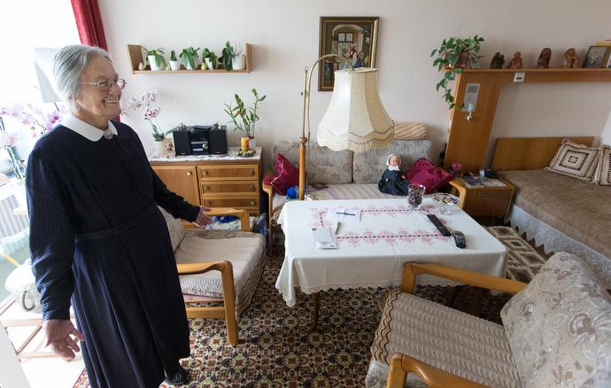 Sister Rita Seebach, a United Methodist Deaconess, welcomes visitors to her room in a retirement home in Frankfurt, Germany.