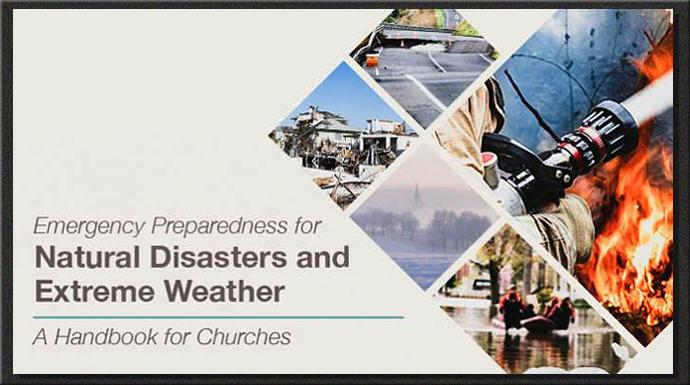 United Methodist Insurance, a part of the General Council on Finance and Administration, has put together a free, downloadable booklet on how churches can prepare for natural disasters and extreme weather. Artwork courtesy of GCFA
