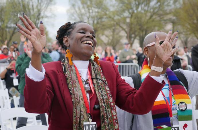United Methodists joined thousands in a Drumbeat for Justice Silent Walk from the Martin Luther King Jr. Memorial to the National Mall early April 4. Photo by Kathy L. Gilbert, UMNS