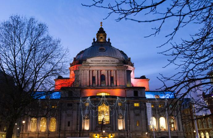 Methodist Central Hall, Westminster in London was built to mark the centenary of John Wesley's death and hosted the first meeting of the United Nations General Assembly in 1946.