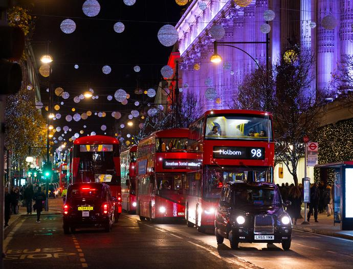 Christmas lights decorate the busy Oxford Street shopping area in the West End of London.