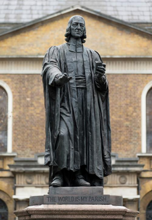 A statue of John Welsey, the founder of Methodism, looks out over the courtyard at Wesley's Chapel in London. The chapel, which considers itself the