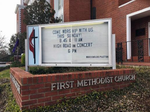 First United Methodist Church in Louisville, Miss., is one of two congregations whose members voted to withdraw from The United Methodist Church in March. Photo courtesy of First United Methodist Church.