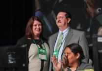 The Rev. Gary Graves of the Kentucky Conference, and his wife Jennifer, are recognized following his election as the incoming Secretary of the General Conference  at the United Methodist 2016 General Conference in Portland, Ore.