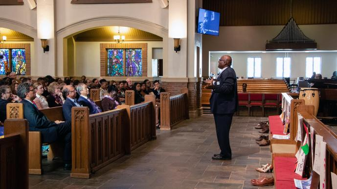 West Ohio Bishop Gregory V. Palmer preaches during opening worship for the April 12-14 meeting of the United Methodist Board of Global Ministries in Atlanta. Photo by Jennifer Silver, General Board of Global Ministries.