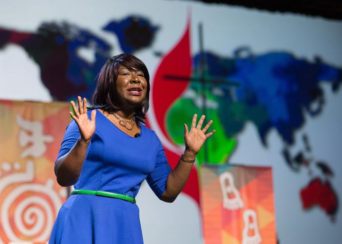 Erin Hawkins, top executive of the United Methodist Commission on Religion and Race, speaks during the 2016 United Methodist General Conference in Portland, Ore. Photo by Mike DuBose, UMNS