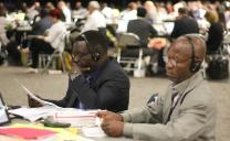 Delegates read the bishops' statement about sexuality and the church on May 18, 2016, at the United Methodist General Conference in Portland, Ore. Photo by Maile Bradfield, UMNS.