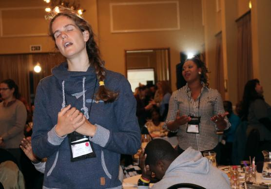 Josephin Trabitzsch from Germany joins in singing during worship at the United Methodist Global Young People's Convocation in Johannesburg, South Africa. Photo by Eveline Chikwanah.