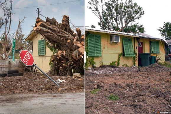 Piles of cut wood (photo on left) are all that remain of a large tree that fell when Hurricane Irma moved through Goodland, Fla. Photo on the right shows the clearing of debris in the small fishing village on the end of Marco Island after the Sept. 10, 2017, storm. Photo by Gustavo Vasquez, UMNS.