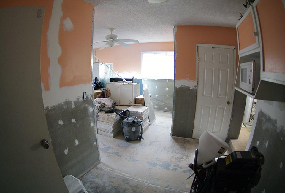 Work is nearing completion on the Sebring, Fla., home of Nirmala Narayan. Hers was the first case opened by the Florida Conference's case managers in Central Florida. Photo by Gustavo Vasquez, UMNS.