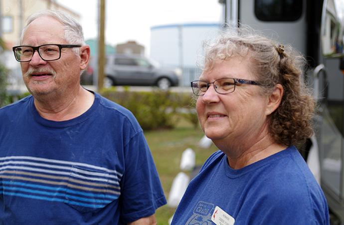 """Mark and Debbie Ford are """"full-time RVers"""" who travel on mission work trips with NOMADS, a ministry of the United Methodist Board of Global Ministries geared toward RV owners seeking service opportunities. They were doing repairs to Matecumbe United Methodist Church in Islamorada, Fla. Photo by Gustavo Vasquez, UMNS."""