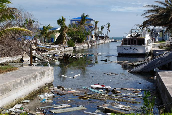 Five months after Hurricane Irma struck Florida, this canal and much of Big Pine Key remain full of debris. Photo by Gustavo Vasquez, UMNS.