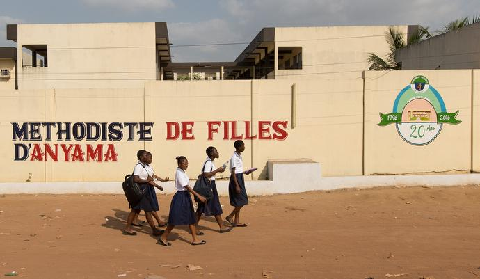 Students walk at the United Methodist Anyama School in Abidjan. Photo by Mike DuBose, UMNS.
