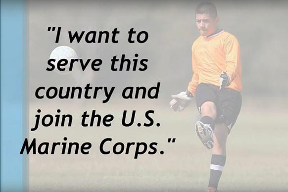 """A young DACA (Deferred Action for Childhood Arrivals) recipient whose future plans include joining the United States military forces. Video image from """"The JFON DREAMers,"""" courtesy of Justice for Our Neighbors."""