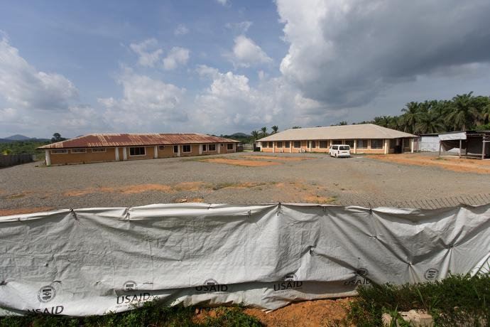 An Ebola containment facility constructed by the Nimba County Health team and Project Concern International lies unused at the Ganta Mission Station. Ganta Hospital staff assisted the medical team running the facility during the Ebola crisis. Photo by Mike DuBose, UMNS.