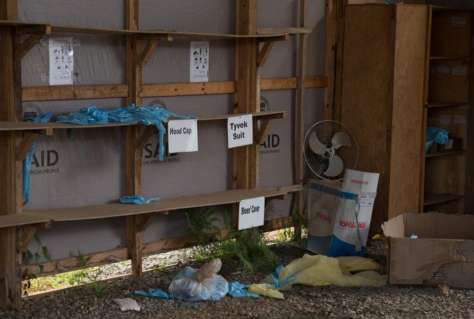 Protective clothing is scattered about at a former Ebola containment facility at the Ganta Mission Station. Photo by Mike DuBose, UMNS.