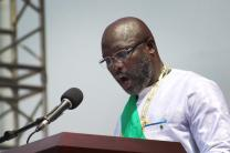 George Manneh Weah speaks during his inauguration as the country's 24th president at Samuel Doe stadium in Monrovia.  Weah, a United Methodist and former soccer star, was elected by more than 61 percent of the vote. Photo by E Julu Swen, UMNS.