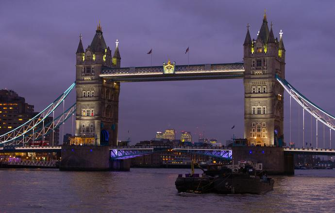 Tower Bridge spans the Thames River in London. Photo by Mike DeBose, UMNS.