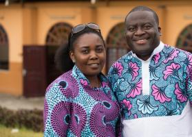 Francine Mpanga Mufuk (left) and the Rev. Jean Claude Masuka Maleka, A United Methodist missionary couple serving in Côte d'Ivoire, have been married for 18 years. Photo by Mike DuBose, UMNS.