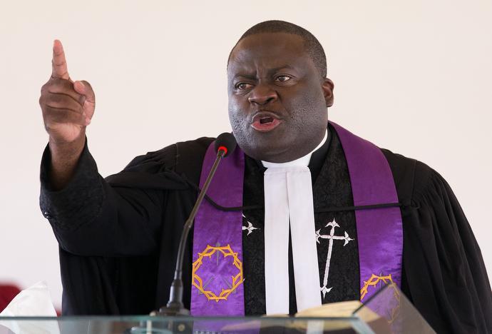The Rev. Jean Claude Masuka Maleka gives the sermon during worship at Nazareth United Methodist Church in Abidjan. Photo by Mike DuBose, UMNS.