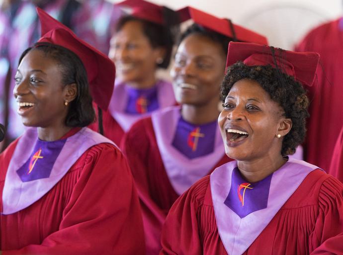 The choir sings during worship at Nazareth United Methodist Church. Photo by Mike DuBose, UMNS.