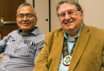 Norman Mark (left) and the Rev. Fred Shaw, director of the Native American Course of Study, talk about why it is important for Native pastors to blend traditional language and culture in ministry. Photo by Ginny Underwood, UMNS.