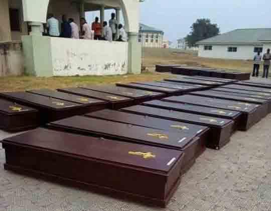 Coffins are lined up outside a morgue in Makurdi, Nigeria. More than 70 people were killed by suspected Fulani herdsmen in the Guma and Logo counties of Benue State in early January. Photo by the Rev. Ande I. Emmanuel, UMNS.
